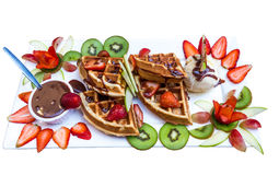 Selective focus of honey toast with fruit and icecream Stock Photo