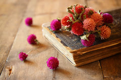 Selective focus image of dry flowers, antique necklace and old vintage books on wooden table. retro filtered image Royalty Free Stock Photography