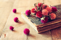 Selective focus image of dry flowers, antique necklace and old vintage books on wooden table. retro filtered image Stock Photos