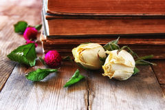 Selective focus image of dry rose and old vintage books on wooden table. retro filtered image Stock Photography