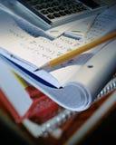 Selective focus image of school homework stock photo