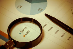 Selective focus magnifier focus text sales,cost  and pen on chart. Royalty Free Stock Photo