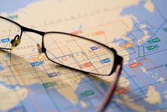 Selective focus on map of Asia Royalty Free Stock Images