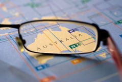 Selective focus on map of Australia Stock Images