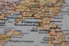 Selective focus map centered on Pyongyang, capital of North Korea.  Royalty Free Stock Image