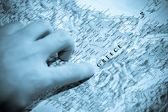Selective focus on map of greece Royalty Free Stock Photography