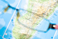 Selective focus on map of island Royalty Free Stock Photos