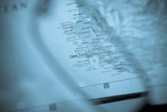 Selective focus on map of south africa Stock Image