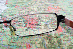 Selective focus on map UK Stock Image