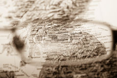 Selective focus on map of UK Royalty Free Stock Image