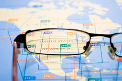 Selective focus on map of US. Business destination selection from map of North America royalty free stock images