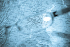 Selective focus on map of USA Stock Image