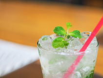 Selective focus, mint on juice Royalty Free Stock Image