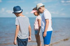 selective focus of multicultural little children stock photo