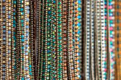Selective focus of necklace accessories of woman. Royalty Free Stock Images