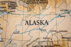 Free Selective Focus Of Alaska On A Geographical And Political State Map Of The USA Royalty Free Stock Photography - 144146207