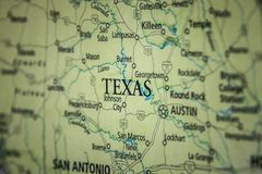 Free Selective Focus Of Texas State On A Geographical And Political State Map Of The USA Royalty Free Stock Photo - 144146085