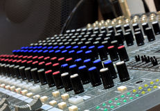 Selective focus part of sound mixer  background. Royalty Free Stock Photos