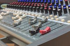 Selective focus part of sound mixer  background. Stock Photos