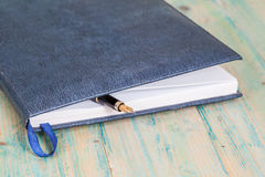 Selective focus of the  pen on opened lined diary book Stock Photography
