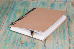 Selective focus of the  pen on opened lined diary Stock Photo