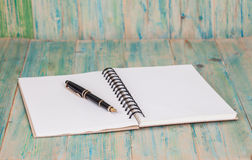 Selective focus of the  pen on opened lined diary book , Royalty Free Stock Image