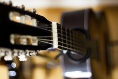 Selective Focus Photo of Black Classical Guitar Royalty Free Stock Photos
