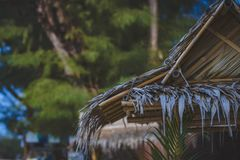 Selective Focus Photo of Brown Nipa Hut Royalty Free Stock Images