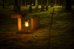 Selective Focus Photo of Cemetery Lantern Royalty Free Stock Photos