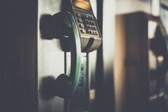 Selective Focus Photo of Green Telephone royalty free stock photography