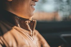 Selective Focus Photo of Man Wearing Brown Jacket royalty free stock photography