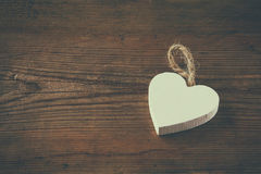 Selective Focus Photo Of Wooden Heart On Rustic Table. Valentine S Day Celebration Concept. Stock Photography
