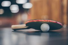 Selective Focus Photo of Table Tennis Ball and Ping-pong Racket Stock Photo