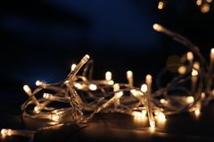 Selective Focus Photo of White and Yellow String Lights Royalty Free Stock Photos