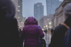 Selective Focus Photograph of Person Wearing Purple Hoodie Jacket Walking on Street Royalty Free Stock Image