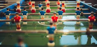 Selective Focus Photography of Blue Foosball Player Stock Photos