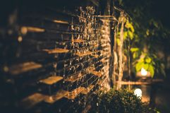 Selective Focus Photography of Brown Brick Wall during Nighttime stock image