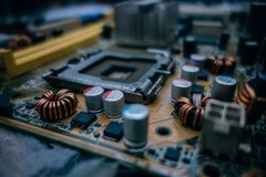 Selective Focus Photography of Computer Motherboard Royalty Free Stock Photography