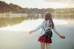 Selective Focus Photography of Girl Near Body of Water royalty free stock photo