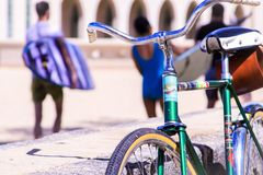 Selective Focus Photography of Green Bike Royalty Free Stock Images