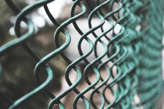 Selective Focus Photography of a Green Link Fence Royalty Free Stock Photos