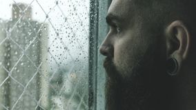 Selective Focus Photography of Man Staring on Glass Window Filled With Droplets Royalty Free Stock Image