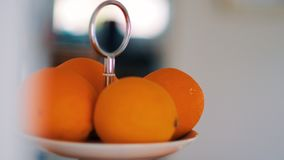 Selective Focus Photography of Orange Fruits on White Plate Royalty Free Stock Images