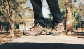 Selective Focus Photography of Person Wearing Brown Hiking Shoes Stock Photos
