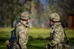 Selective Focus Photography of Two Soldiers stock photo