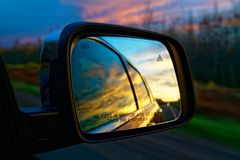 Selective Focus Photography of Vehicle Side Mirror Royalty Free Stock Photography