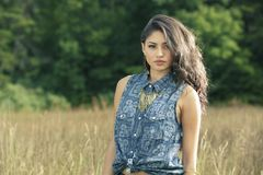 Selective Focus Photography of Woman in Blue Top royalty free stock photography