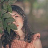 Selective Focus Photography of Woman in Orange Sleeveless Top Hiding Face Behind Tree's Leaf Stock Image