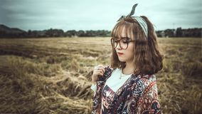 Selective Focus Photography of Woman Wearing Black Framed Eyeglasses and Gray Headband Royalty Free Stock Images