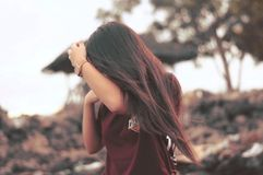 Selective Focus Photography of Woman Wearing Red Shirt royalty free stock images
